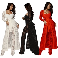 Sexy automne robe dentelle large jambe pantalon trois pièces loisirs costume